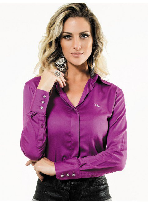 camisa violeta feminina botoes cristal principessa tayla look