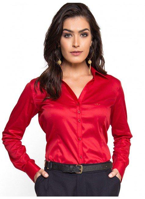 camisa social feminina vermelha com elastno principessa klara look