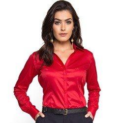 detalhe camisa social feminina vermelha com elastano principessa klara tecido elastano
