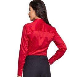 detalhe camisa social feminina vermelha com elastano principessa klara tecido modelagem