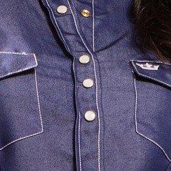camisa feminina jeans escuro principessa inarae detalhe costura contrastante