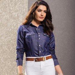 camisa feminina jeans escuro principessa inarae detalhe look