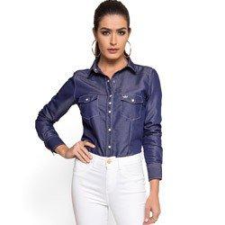 camisa feminina jeans escuro principessa inarae detalhe tecido leve
