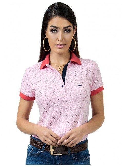 polo feminina maquinetada rosa principessa graciela look