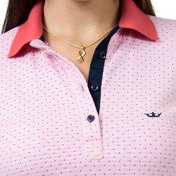 detalhe polo feminina maquinetada rosa principessa graciela gola