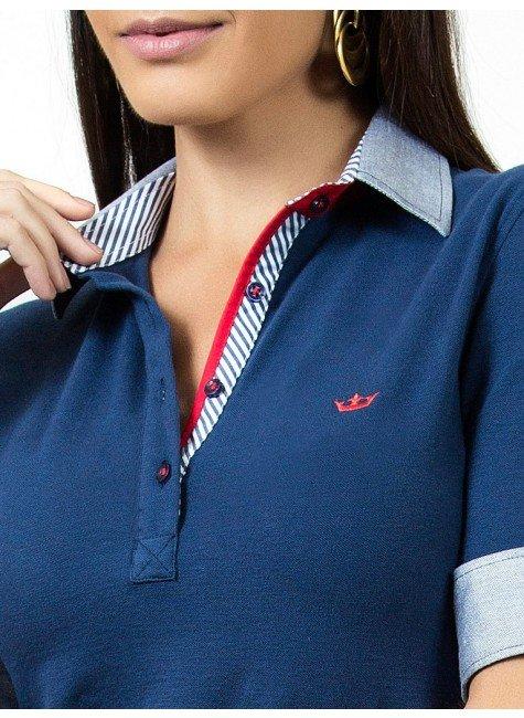 45de72bef4 ... camisa polo marinho feminina principessa ingrid acabamento gola ...