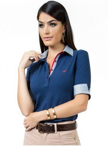 camisa polo marinho feminina principessa ingrid look