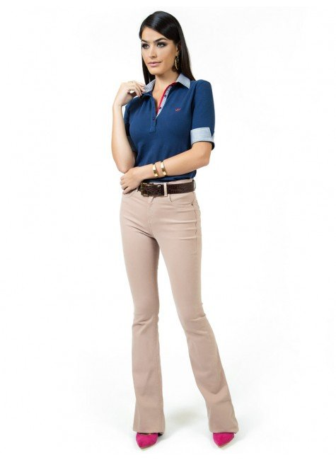 c6fe683748 ... camisa polo marinho feminina principessa ingrid look compre completo ...