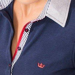 camisa polo marinho feminina principessa ingrid acabamento gola detalhes