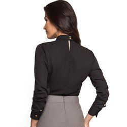 blusa preta gola alta com decote vazado principessa jucilene tecido