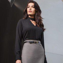 blusa preta gola alta com decote vazado principessa jucilene tecido look detalhe