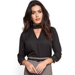 blusa preta gola alta com decote vazado principessa jucilene tecido look detalhe elegante