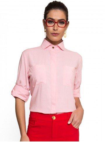 camisa social manga longa rosa claro principessa cleonice bolso look