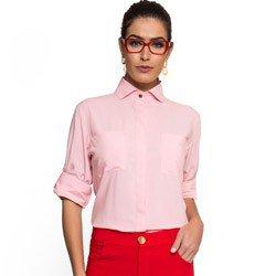 camisa social manga longa rosa claro principessa cleonice detalhes
