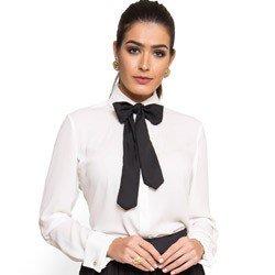 camisa off white com laco principessa irene detalhe tecido modelgem