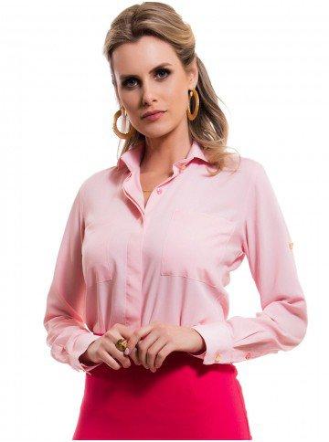 camisa social manga longa rosa claro principessa cleonice look