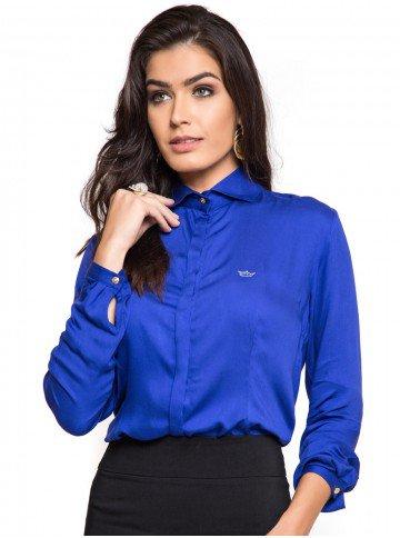 camisa feminina azul bic principessa maria luiza botao look