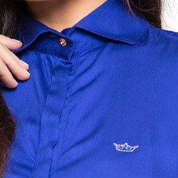 camisa feminina azul bic principessa maria luiza detalhes exclusivos