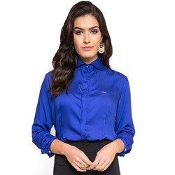 camisa feminina azul bic principessa maria luiza detalhes tecido modelagem