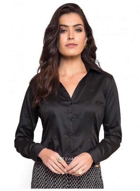 camisa social feminina preta principessa mardjane decote v look