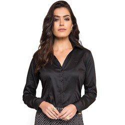 detalhe camisa social feminina preta principessa mardjane decote v tecido elastano