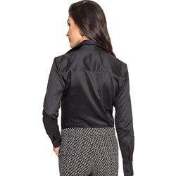 detalhe camisa social feminina preta principessa mardjane decote v tecido elastano modelagem