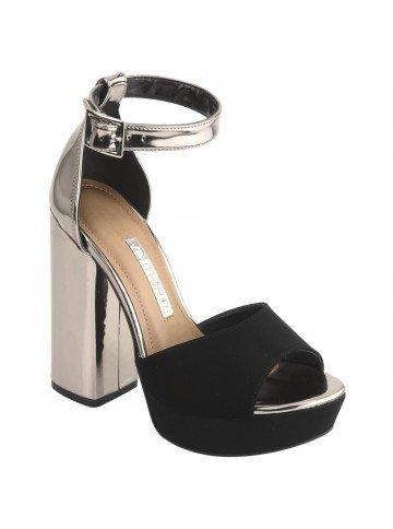 sandalia via marte meia pata metalizada preta