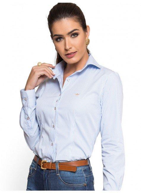 camisa premium social feminina listrada principessa ivanna look