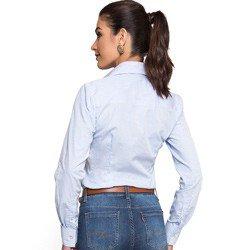 detalhe camisa social premium listrada principessa ivanna look modelagem acinturada