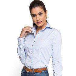detalhe camisa social premium listrada principessa ivanna look tecido