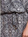 vestido manga curta principessa leiliane estampado soltinho com elastico amarracao