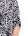 vestido manga curta principessa leiliane estampado soltinho com elastico punho