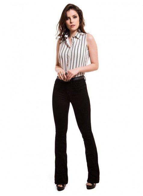 e6b7d1829 ... calca jeans flare media preta denim zero dz2516 bolso look completo ...