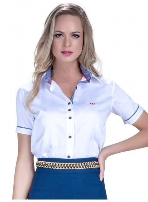 camisa manga 3 4 fio egipcio principessa milena punho gravataria look