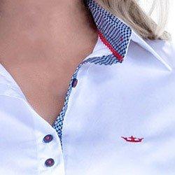 camisa manga 3 4 fio egipcio principessa milena punho gravataria acabamento