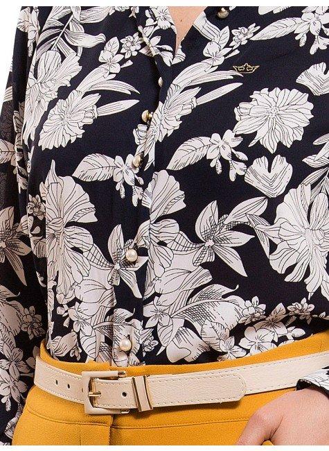 ... camisa social estampada floral principessa tayane botao d01ec716f6