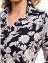 camisa social estampada floral principessa tayane logo