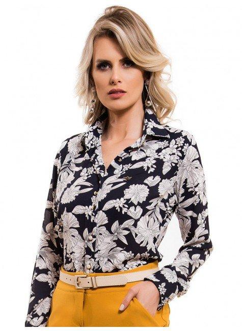 camisa social estampada floral principessa tayane look a178dd7632