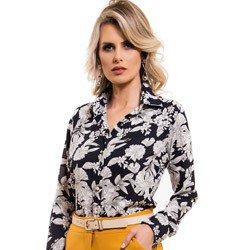 camisa social estampada floral principessa tayane detalhe look
