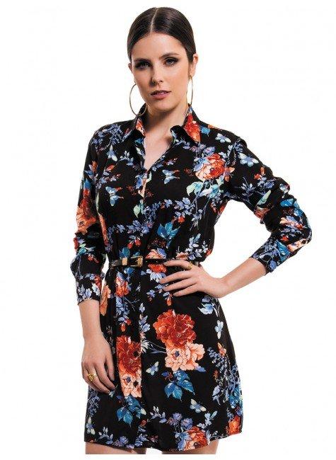 vestido chemise preto floral principessa keise look