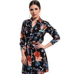 vestido chemise preto floral principessa keise detalhe look