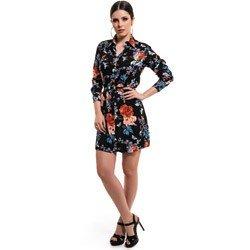 vestido chemise preto floral principessa keise detalhe look comprar