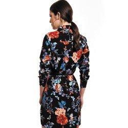vestido chemise preto floral principessa keise detalhe tecido