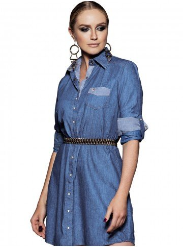 vestido chemise jeans claro principessa dhalia martingale look