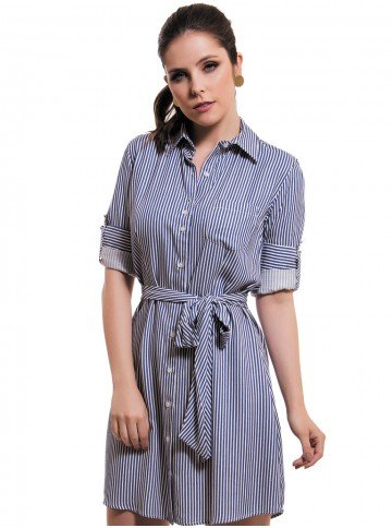 vestido chemise listrado principessa belinda look