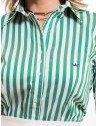 camisa social feminina listrada verde principessa shirley colarinho