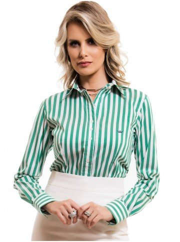 camisa social feminina listrada verde principessa shirley look