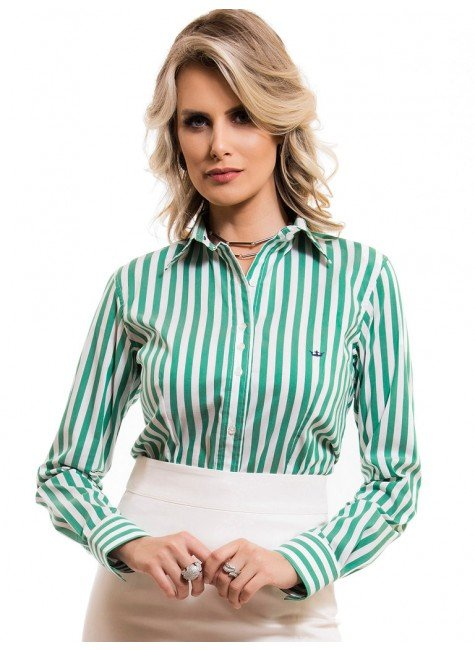 camisa social feminina listrada verde principessa shirley look 8b9a520dc4
