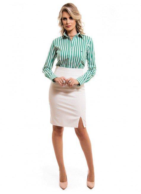 ... camisa social feminina listrada verde principessa shirley look completo  ... 882dbb95d7