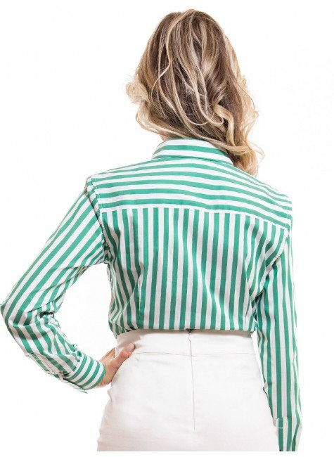 ... camisa social feminina listrada verde principessa shirley look costa ... de7fd9598e